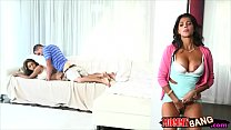 Bianka and Sarai threesome on the couch video