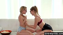 Two nerdy lesbian teens passionate pussy eating