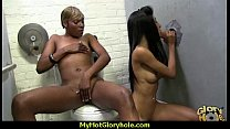Black chick blows & fucks cock on a naughty gloryhole 21