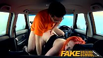 Fake Driving School Tattooed redhead craves ins...