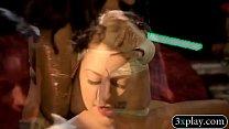 Two brunette beauties hot body massage video