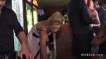 Slave on leash gets facial in public