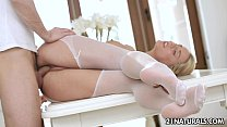 Sensual footjob in white stockings