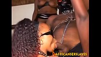 Chained black slave gets dick sucked before he fucks kinky ebony chicks