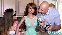 Realdoll threesome Jmac and Kelsi Monroe T-Rex cuckold preview image