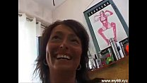 Brunette german MILF with perfect tits plays with cucumber