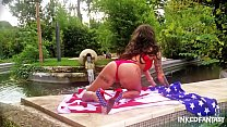 Inked goddess Daniela independance day striptease thumbnail