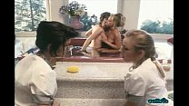 Jenteal and friend take a bath together while their maids watch preview image