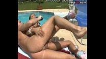 Innocent brunette with pigtails has her ass attacked by toys and dick... - sex video