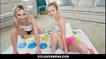Petite Blonde Teen Stepsister Riley Star And Her Best Friend Chloe Temple Share Stepbrothers Cock POV