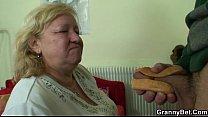 Busty granny tastes yummy cock video