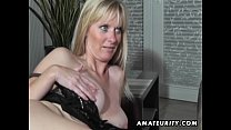 Naughty amateur Milf sucks and fucks with cumshot preview image