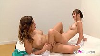 Sex and schoolgirls! Ainara teaches her hot young friend Judith about lesbian dildo sex preview image