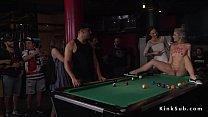 Blonde rimming guy in pool bar