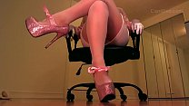 Pantyhose And Pink Crystal High Heels