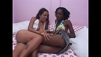 Lesbian ebony girls scissor each other in the bed room Thumbnail
