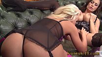 Milf Sensual Jane Lesbian Experience with Sexy Blonde Bombshell's Thumb