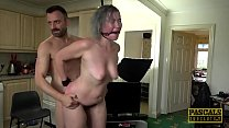 Brit petite subslut dommed and fed with cum by big fat cock porn image