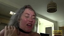 Brit petite subslut dommed and fed with cum by big fat cock preview image