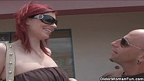 Very tall milf Marsha Lord gets facial