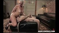 He gets used and rammed in the ass by a blonde