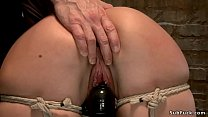 Babe in crotch rope hogtie gets whipped's Thumb