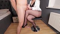 Teacher femdom handjob on her Legs in Pantyhose...