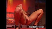 Blond striper showing off her skills