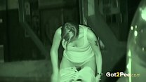 Public Pissing - Night vision catches a hot European peeing outside Image