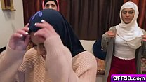 Hot Muslim besties feasting and sucking a big cock thumbnail