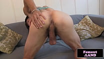 Ebony tranny tugging on her hard cock