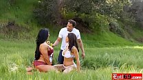 Mature Lisa Ann hot interracial threesome sex outdoor Image