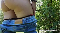 Shy blonde dicked hard in park