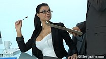 Sexy Milf Jasmine Jae plays the office slut addicted to hard cock thumbnail