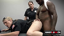 Rough females fucked by horny suspect on a desk