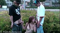 Young blonde teen cutie girl is fucked by 2 guys on a public street صورة