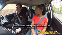 Fake Driving School ebony learner with big tits is worst driver yet - 9Club.Top