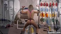 Aussie blonde Isabelle Deltore is busy with her workout routine. Her fitness trainer suggests to do a workout sex with her and cum on her tattoo. thumbnail