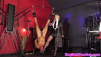 Mistress dominates suspended sub with dildo preview image