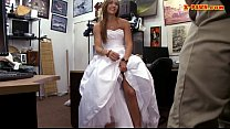 Girl pawns her wedding dress and pounded by paw...