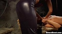 Lesbian slave tied up and whipped