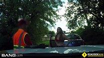 Roadside - cheating girlfriend sucks off mechanic outdoors image