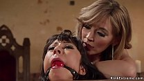 Lesbian in stock gets anal banged