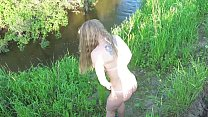 Outdoor. Public blowjob. Russian Slut in a micro-bikini sucks dick in the park