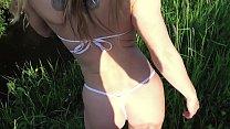 Russian Girl Sasha Bikeyeva - Gorgeous Eyes Cute Girlfriend in Micro Bikini. Outdoor Blowjob in the Park