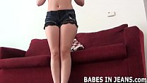 These tight little denim shorts barely fit JOI