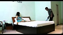 Indian Bhabhi In Blue Lingerie Teasing Young Room Service Boy thumbnail