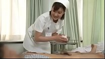 Sexy japanese nurse giving patient a handjob