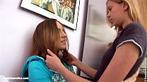 Deep fingering with two hot brunettes in the kitchen by Sapphic Erotica's Thumb