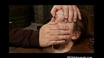A sub girl bondaged, throatfucked and a clit tortured thumbnail